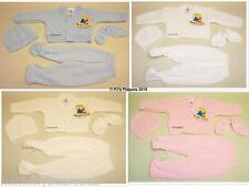 BABY BOYS GIRLS 4 PIECE KNITTED SET CARDIGAN TROUSERS HAT MITTENS NB 0-3