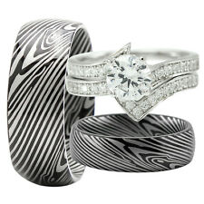 His & Hers Titanium Camo 925 Sterling Silver 4PCs Wedding Bridal Matching Rings