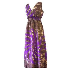 LADIES MAXI DRESS FULL LENGTH CROSSOVER BUST MULTI PRINT PURPLE & BROWN SIZE 10