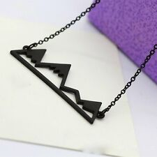 Geometrical Silver/Black/Gold Mountain Pendant Necklace Choker Women Lady Gifts