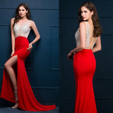 Sexy Bead Mermaid Long Formal Gown Wedding Party Cocktail Evening Prom Dresses