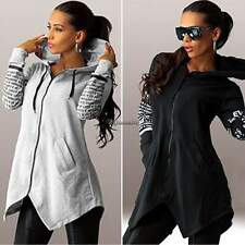 New Women Zipper Blouse Sweatshirts Pullover Top Irregular Long Sleeve Hoodie