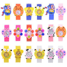 Children Unisex Cartoon Snap Slap On Silicone Band Kids Quartz Wrist Watch Gifts