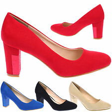 Marlie Womens Mid High Block Heels Slip On Ladies Court Shoes Formal Pumps Size