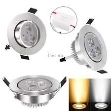 9W LED Ceiling Recessed Dimmable Down light Fixture Lamp Light & Driver 85-265V