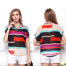Lady New Design Colorful Striped Chiffon Loose Tshirt Batwing Sleeve Blouse Tops