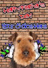 Airedale Terrier Fathers Day Personalised Greeting Card pidfd17 Dad Daddy