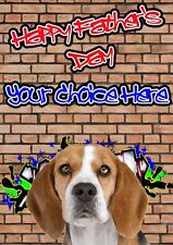 Beagle Graffiti Fathers Day Personalised Greeting Card pidfd18 Dad Daddy