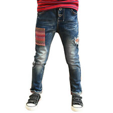 Boys Elastic Waist Panel Design Cuffed Jeans