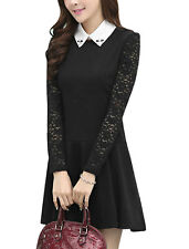 Womens Long Lace Sleeves Slim Short Dress W Removable Collar