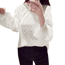 Women Long Trumpet Sleeves Scalloped Neck Pleated See Through Slim Fit Mesh Top