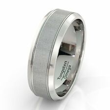 Mens Wedding Band Classic Tungsten Ring 8mm Brushed Double Groove Beveled Edge