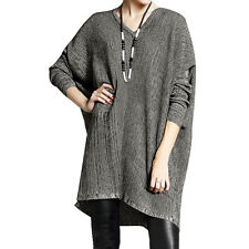 Women V Neck Long Batwing Sleeves Loose Tunic Sweater
