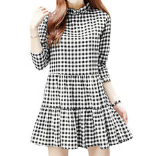 Women Ruffled Collar Long Sleeves Plaids Flouncing Hem Tunic Dress