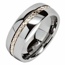 8mm Men's Tungsten Carbide Ring Silver Rope Inlay Wedding Band Comfort Fit