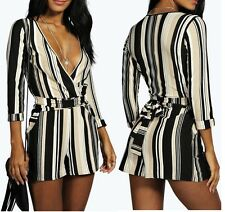 NEW LADIES WOMENS STRIPED SELF BELT WRAP PLAYSUIT SIZE 8,10,12,14
