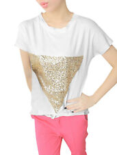 Woman New Fashion Round Neck Short Dolman Sleeve Casual Tops