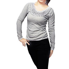 Flower Accent Neck Long Sleeve Stretchy Shirt for Lady