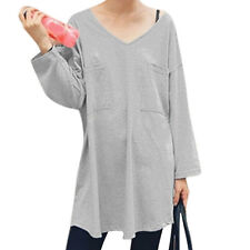 Women V Neck Long Dolman Sleeves Pullover Bust Pockets Loose Fit Tunic Top