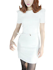 Ladies Padded Shoulders Casual Pullover Stretchy Mini Dress