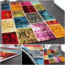 Vintage Multi Coloured Rug Retro Designer Patchwork High Quality Thick Carpet