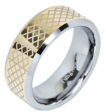 8mm Mens Tungsten Carbide Ring Beveled Edge Gold Plated Wedding Band Jewelry