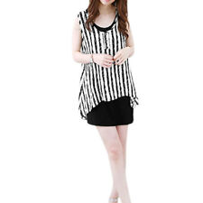 Woman Vertical Stripes Asymmetric Hem Tunic Top w Tank Dress