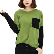 Women Round Neck Long Sleeves Contrast Color Loose Fit Casual T-Shirt
