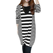 Women Round Neck Long Sleeves Stripes Print Loose Fit Casual Tunic T-Shirt