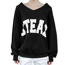 Women V Neck Long Dolman Sleeves Pullover Letters Prints Loose Fit T-Shirt