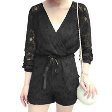 Lady Strapless Tube Top w Drawstring Waist Two Pockets Lace Romper