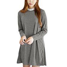 Women Ruffled Collar Long Sleeves Loose Fit Casual Tunic A Line Dress