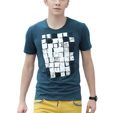 Men Short Sleeve Round Neck Geometric Prints Pullover Casual Tops