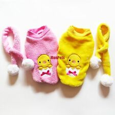 With Scarf~Pink Yellow Warm Fleece Dog Shirt Hoodie Coat Pet Apparel Dog Clothes