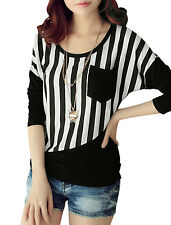Lady Round Neck Long Batwing Sleeve Stripes Casual T-Shirt