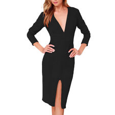 Woman Deep V Neck Long Sleeves Split Front Pencil Dress