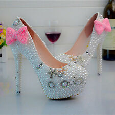 Pearl White Pink Bow Wedding Ball Club Shoe High Heels Evening Party O