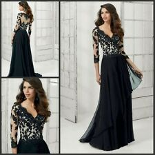2016 New Half-sleeve V-neck Black Formal Prom Evening Party Pageant Wedding gown
