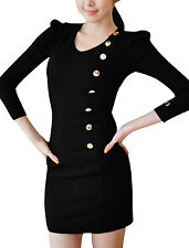 Lady Long Sleeve Scoop Neck Button Front Slant Zip Casual Dress