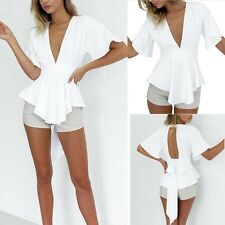 Fashion Women Peplum Frill Puff Tops Short Sleeve Slim Fit Shirt Clubwear Blouse
