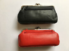Golunski Soft Leather Double Frame Clasp Granny Purse Zip Coin Pocket Zip Pocket