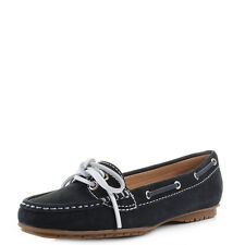 Womens Sebago Meriden Two Eye Leather Navy Moccasin Boat Shoes UK Size