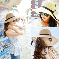 Hot Women's Summer Beach Sun Hat Straw Floppy Brim Elegant Bohemia Cap 59a