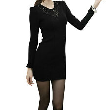 Ladies Puff Sleeves Casual Autumn Stretchy Pullover Mini Dress