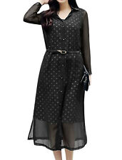 Women Dots Tunic Dress w Point Collar Long Chiffon Cardigan w Belt