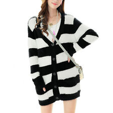 Lady V Neck Long Sleeves Stripes Single Breasted Cardigan Sweater