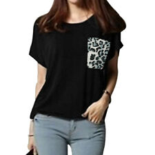 Ladies Short Raglan Sleeves Round Neck Leopard Prints Loose Tops