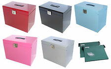 A4 Metal File Filing Box Home Office Storage Lockable + 5 Free Suspension Files