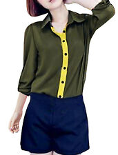 Lady Point Collar Long Sleeve Buttoned Cuffs Casual Shirt