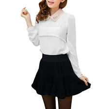 Ladies Point Collar Semi Sheer Crochet Pullover Casual Blouse
